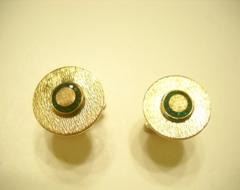 Vintage Sterling Cuff Links (7595) Tiny Forest Green Rhinestones