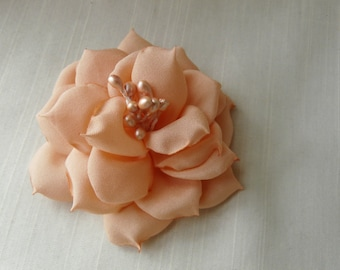 Rose Hair Clip, Bridesmaid Flower Clip, Peach Bridesmaid Gift, Bohemian Hair Flower, Peach Bridal Flower, Peach Bridal Fascinator