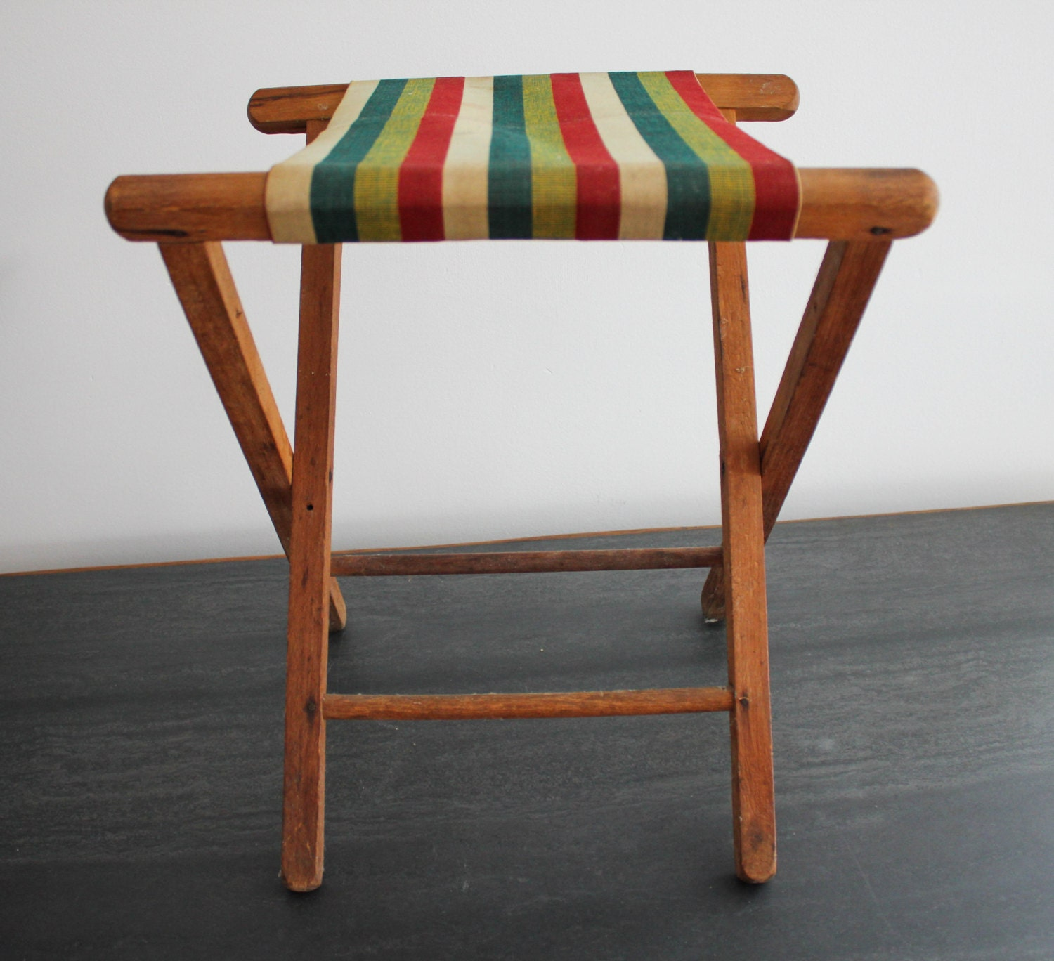 Vintage wood and canvas folding camping chair stool striped