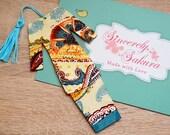 Malaysian Traditional Baju Kurung Fabric Bookmark: Light Yellow with Abstract Patterns