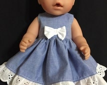 """Dolls clothes made to fit 42cm (16"""") (Med) Cabbage Patch, Baby Born and Baby Alive dolls.  Sleeveless Dress."""
