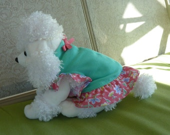Dog Clothes, Puppy Dress with a Teal Bodice and a Hot Pink Floral Motif with a cute Pink Bow to match.
