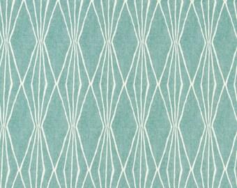Aqua Upholstery Fabric - Geometric Design Fabric - Home Decor Aqua - Blue Cotton Drapery Fabric - Heavy Duty Fabric - Furniture Material