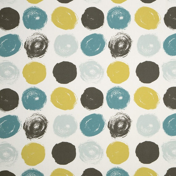 Teal Yellow Grey Geometric Cotton Upholstery Fabric Modern