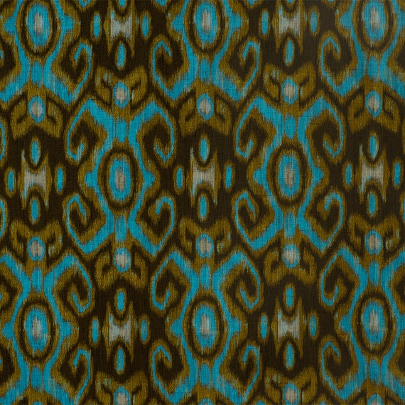 Ikat Home Decor Fabric: Turquoise Ikat Upholstery Metallic Gold Fabric By