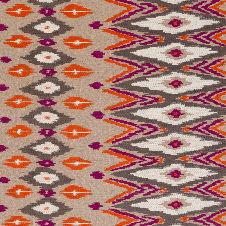 Orange Kilim Upholstery Fabric Purple Orange Embroidered