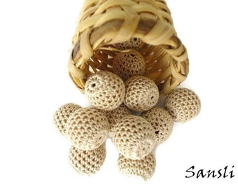 12 pcs -16 mm beads-crocheted bead-beige beads-round beads-crochet ball beads-beads crochet-embellishment-wooden crochet cotton yarn beads