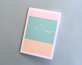 OH WOW calligraphy color block card