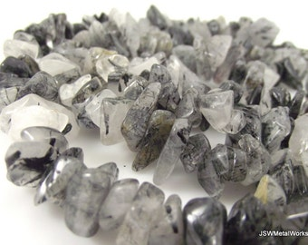 Tourmalinated Quartz Chip Beads, 10 - 12mm, 16 inch strand, Whole strand