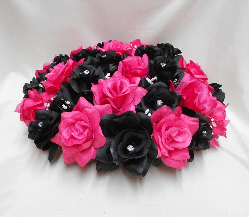 Black Fuchsia Hot Pink Roses Wedding Bridal Silk Flower Alter