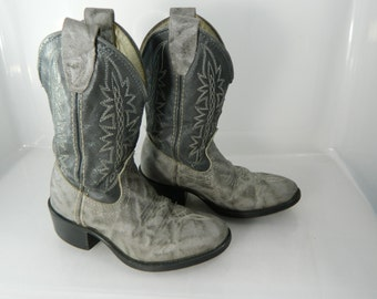 Vintage Child's Cowboy Boots Boys Gray Boots Children's Western Boots 8 1/2D