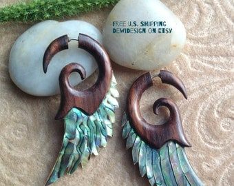 "Fake Gauge Earrings, ""Paua Wings"" Hand Carved, Sono Wood, Paua Shell, Natural, Tribal"