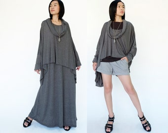 NO.158 Dusty Gray Cotton-Blend Jersey Slouchy Pattern Top & Dress