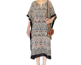 NO.166 Black, Brown, Blue and Cream Cotton Mix Printed Graphic Caftan Dress, Bohemian Caftan Dress, Day Dress
