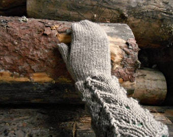Knitted wool mittens, long mittens, womens long gloves, ash gray