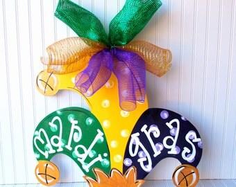 Mardi Gras Wreath, Mardi Gras, Mardi Gras Door Hanger, Mardi Gras DecorationsMard