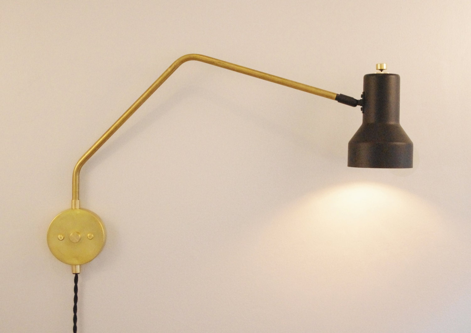 the arch swivel step lamp industrial brass swing arm wall. Black Bedroom Furniture Sets. Home Design Ideas