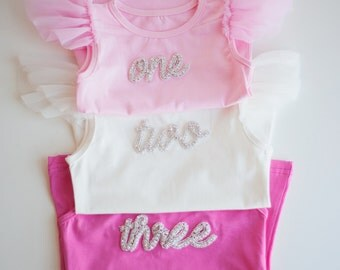 First, second or third Birthday number shirt - number 1, 2 or 3 crystal word top written script one, two or three top