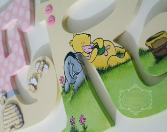 Classic Winnie the Pooh Themed Hand Painted Personalized Wooden Nursery Letters