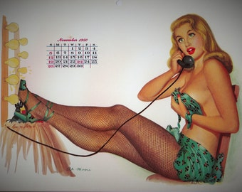 1950 NOVEMBER Calendar Page from Esquire Girl Calendar Pinup Pin up Girl artist Al Moore Telephone Gift