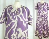VTG 60s – 70s Tropical Purple & Lavender BOHO Hippie tie-dye style Batik MAXI Dress