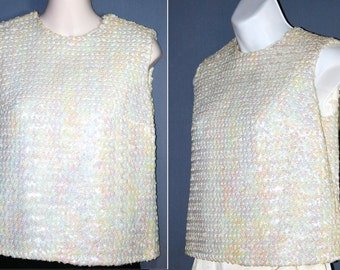 Vtg 60s–70s Opalescent Cream White ~STEPHEN O'GRADY~ Mother-of Pearl Sequined Blouse / Top