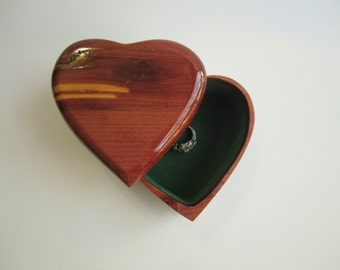 Reclaimed Cedar Log Heart Jewelry Box for Brides Wedding Anniversary Love