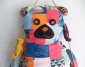 Patchwork BEAR PILLOW / Children pillow / Pillow Toy Bear / Handmade Patchwork Pillow/