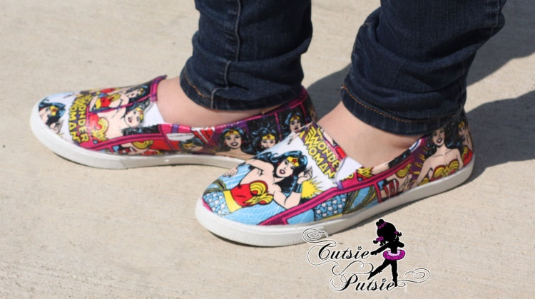 wonder woman shoes custom kids and adult shoes by cutsieputsie