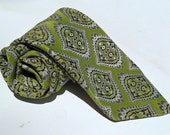 Vintage 1970s Lime Green and Dark Brown Polyester Tie with Paisley Pattern
