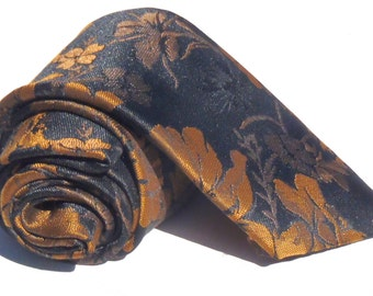 Vintage 1980s Black Tie with Brown Floral Pattern from Bugle Boy