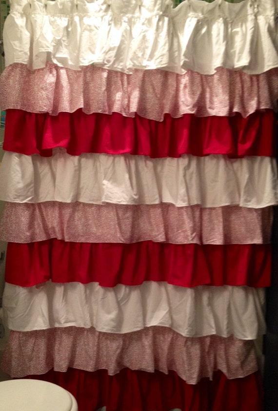 Peppermint Ruffled Shower Curtain