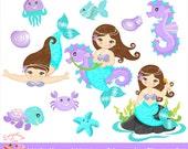 Little Mermaid in Aqua & Purple Clipart Set