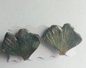 Ginkgo Biloba Green Studs Woodland Earrings Handmade Earrings Wearable Art Polymer Clay Earrings Costume Jewelry Spring Earrings