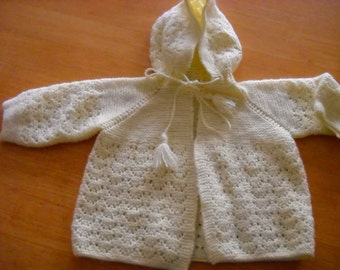 Vintage Yellow Baby Sweater with hood