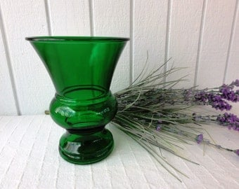 """30% Off COUPON SALE! Vintage Napco Emerald Green Glass Flower Vase, 8"""" Tall x 6"""" Flared Top, Cleveland, Retro Home Decor #727"""