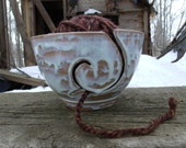White Drip Yarn Bowl- Handmade Ceramic