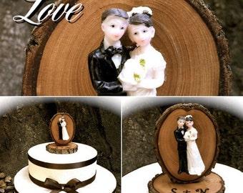 Rustic Wedding Cake Topper Vintage Inspired Bride Groom Toppers
