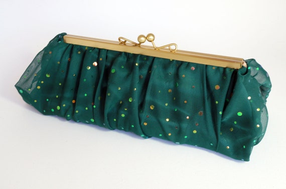 Green & Gold Sequin Clutch Purse - Shimmering Chiffon Evening/Prom/Formal Handbag - Includes Chain - Ready to Ship