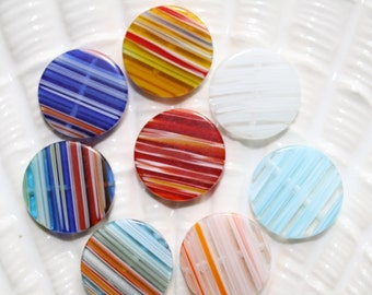Eight vintage striped glass multi colored beads flat disc