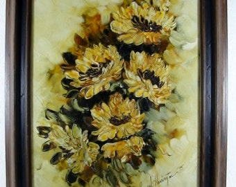Gorgeous Mid Century Framed Sunflowers Signed Oil on Canvas
