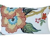 Schumacher Hothouse Flower Lumbar Pillow Cover in Spark