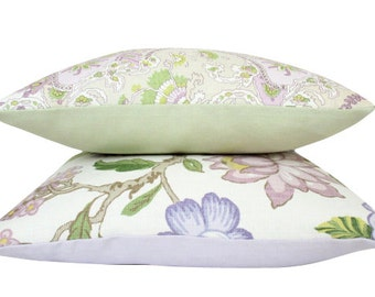 Set of two Schumacher Lavender and Spring Green Linen Pillow Covers