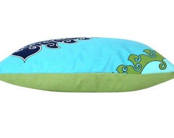 Trina Turk Paradise Outdoor Lumbar Pillow Cover in Green, Turquoise and Navy