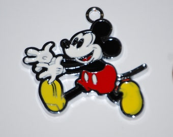 Disney Vintage version Mickey Mouse Enamel Clip Charm, zipper pull, backpack, cell phone, purse clip, bracelet, necklace, scrapbooking