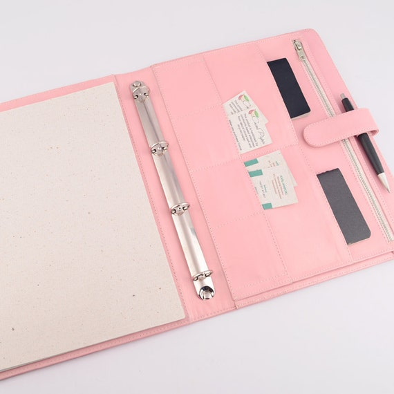 A4 Leather Ring Binder PadFolio / Portfolio Combo By