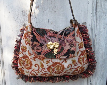 Large needlepoint carpetbag, bohemian bags and purses, gypsy burnt orange, teal vintage fabrics, crossbody leather strap