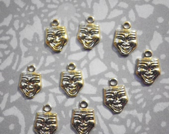 12 Goldplated 9mm Happy Face Charms