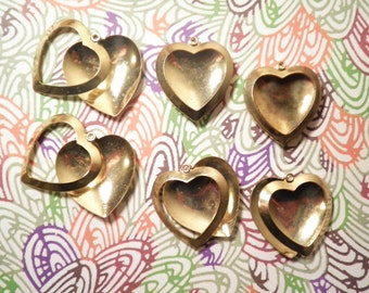 6 Vintage Goldplated 28mm Heart Picture Frames