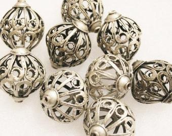 2 Moroccan Berber Filigree Silver Beads , Ethnic Beads, Tribal Beads (D53)